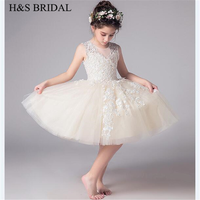 H&S BRIDAL Champagne   flower     girl     dress   short first communion   dresses   2-12 Years   girls     dress   for wedding vestido de daminha