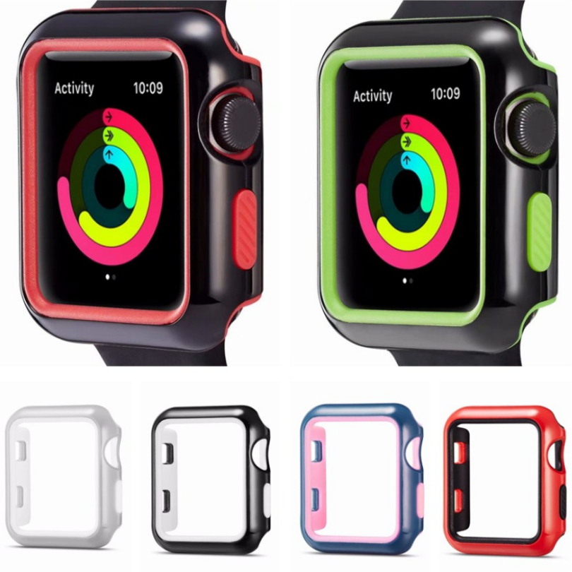 2in1 Dual Colors Protective Soft Silicon Frame Case for Apple Watch Case Series 1 2 3 38mm 42mm Cover Shell Perfect Match Bumper цена