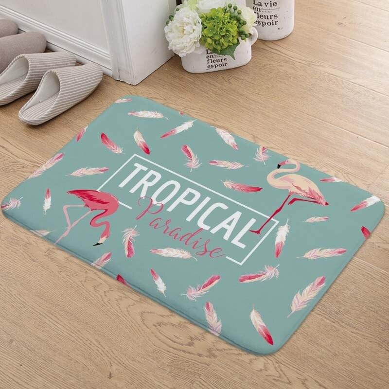 2019 Fashion Style Flamingo Bath Door Mat Super Soft Absorbent 130g Non-slip 40*60cm Flannel Kitchen Bathroom Bedroom Floor Mat