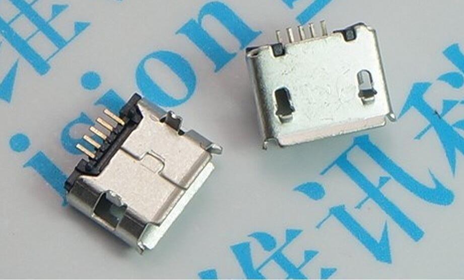 100pcs micro USB mini connector 5pin DIP 2leg Long needle 5P DIP2 Data port Charging port mini usb connector for Mobile end plug
