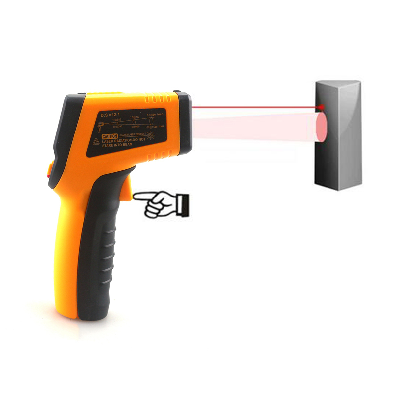 HTB1Ed01jsbI8KJjy1zdq6ze1VXas Handheld Non-contact IR Infrared Thermometer Digital LCD Laser Pyrometer Surface Temperature Meter Imager C F Backlight -50~600C
