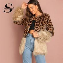 bd61e6b0f465b Sheinside Контрастность искусственный мех пальто Леопардовый принт зимняя  куртка для женщин 2018 верхняя одежда с длинными рукав.