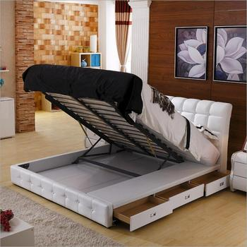 High quality factory price royal large king size Genuine leather soft bed bedroom furniture a1246