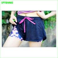 Donne Pantaloncini Atletica Tennis Yoga In Esecuzione 2 In 1 Leggings Sport del Poliestere Maglia Collant Outdoor
