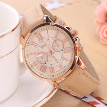 Hot selling!The Lastest nine colors Round Fashion Women's Leather Stainless Steel Dress Quartz Analog Wrist Watches hot