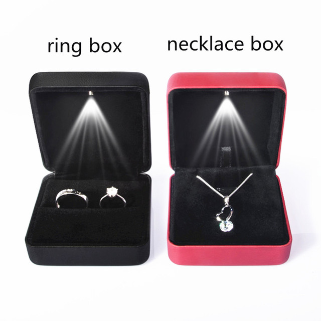 1pc Black Red Jewelry Box Toy LED Light Finger Ring and Necklace Box