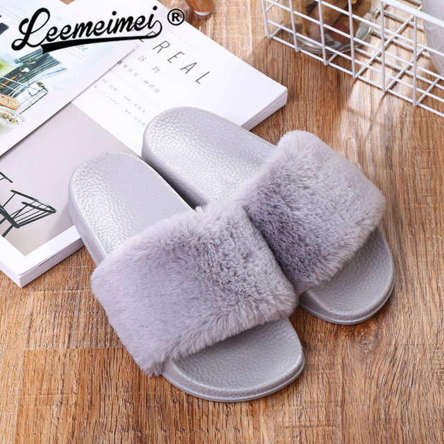 Hot Women Slippers Fashion Spring Summer Autumn Plush Slippers Women Faux Fur Slides Flip Flops Flat Shoes
