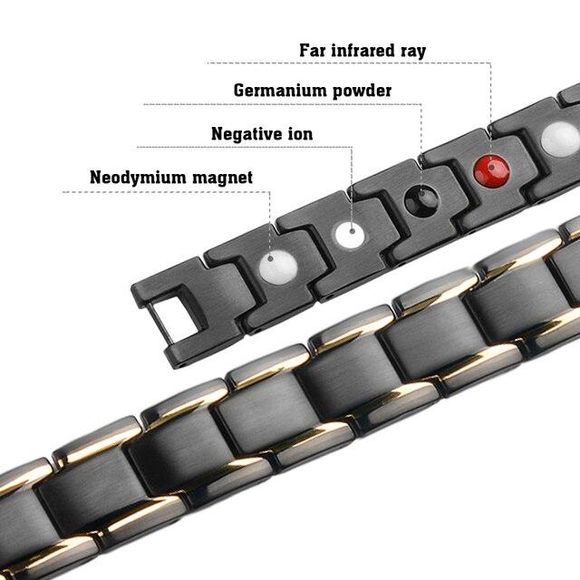 Black 316L Stainless Steel Men's Magnetic Health Bracelets & Bangles 4
