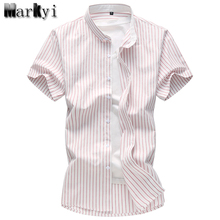 MarKyi 2017 summer new short sleeve striped dress shirt men plus size 7xl good quality cotton mens shirts casual slim fit