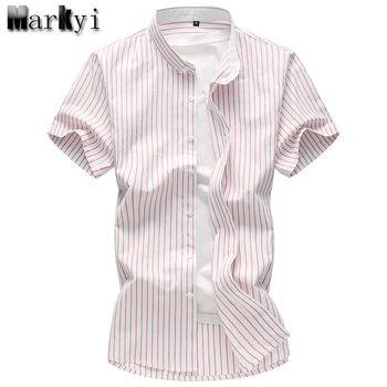 MarKyi 2017 summer new short sleeve striped dress shirt men plus size 7xl good quality cotton mens shirts casual slim fit new arrival colorful printed shirt men brand good quality short sleeve casual dress shirts plus size