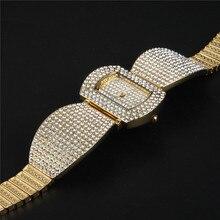 G & DCrystal Rhinestone correa de brotes de las Hojas de Metal Materiales de oro Vestido Reloj de señoras Con Estilo de Las Mujeres Relojes Relojes de Cuarzo Relojes de Pulsera