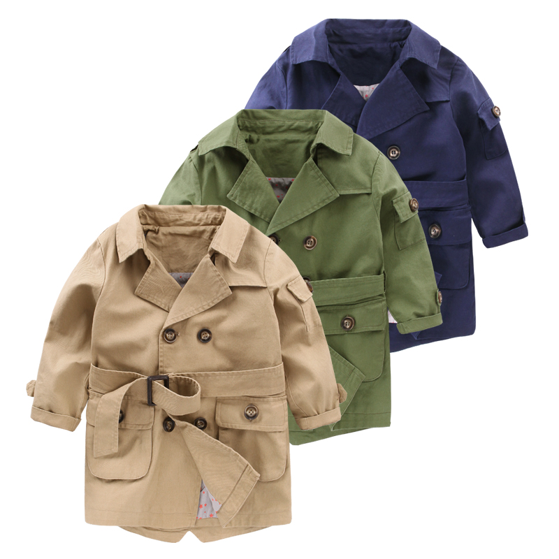 New Baby Boys   Trench   Coat 24M-7Y Children Double Breasted Long Sleeve Outwear Kids Jackets Fashion Overcoat