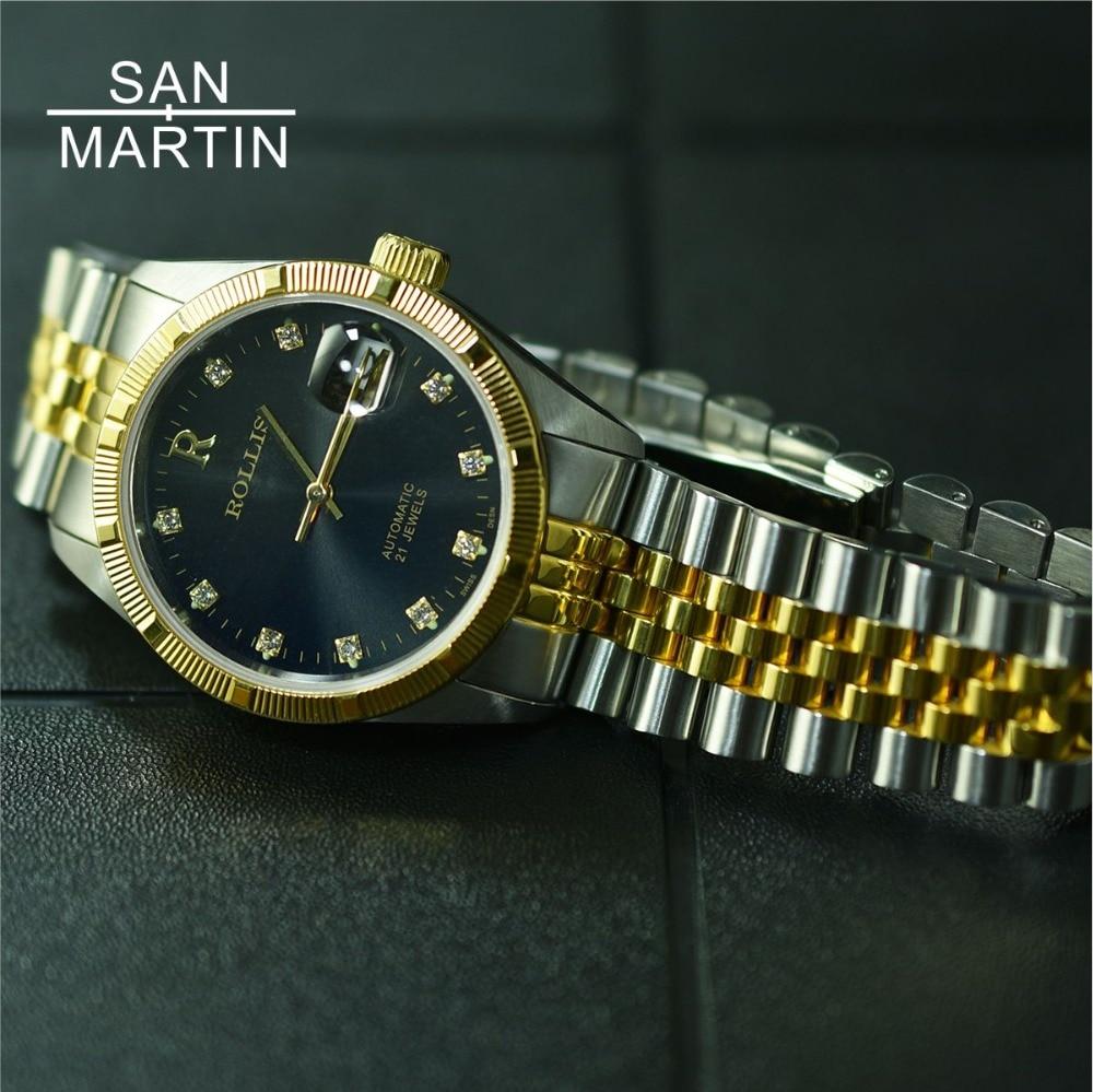 Сан Мартин ролис для мужчин ретро часы нержавеющая сталь Автоматические часы 100 м водостойкий MIYOTA Move t наручные сапфировое стекло