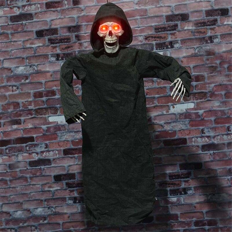 Accessoires de décoration Halloween noir tissu effrayant suspendus fantôme horreur crâne faucheur fantôme électrique poupée hantée effrayant fantôme sanglant
