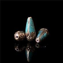 NBB222 Непальские Винтажные бусины ручной работы прекрасные капли воды из бисера Голубой цвет 5 бусин Лот