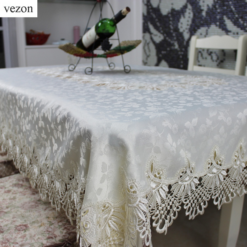 vezon High Quality New Design Hot Sale Rectangular Elegant Polyester Lace Tablecloths Wedding Table Cloth Home