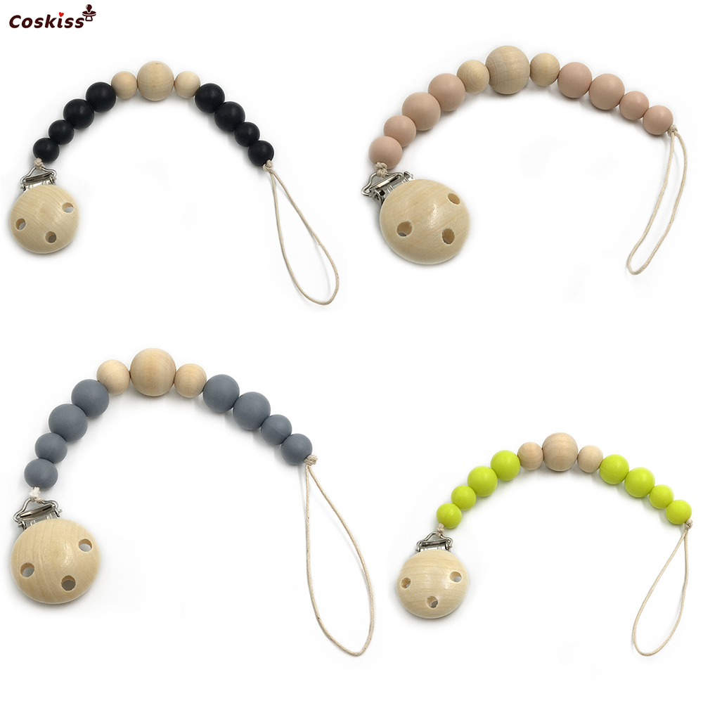 Baby Silicone Teether Wooden Pacifier Clip Newborn Baby GirlBoy Soother Clip Chew Beads DIY Natural Baby Teething Grasping Toy