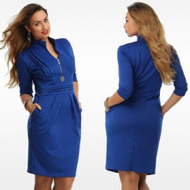 2016 New Work Dresses Plus Size Women Clothing 6xl Fat MM Silm Body Fashion  Casual Dress