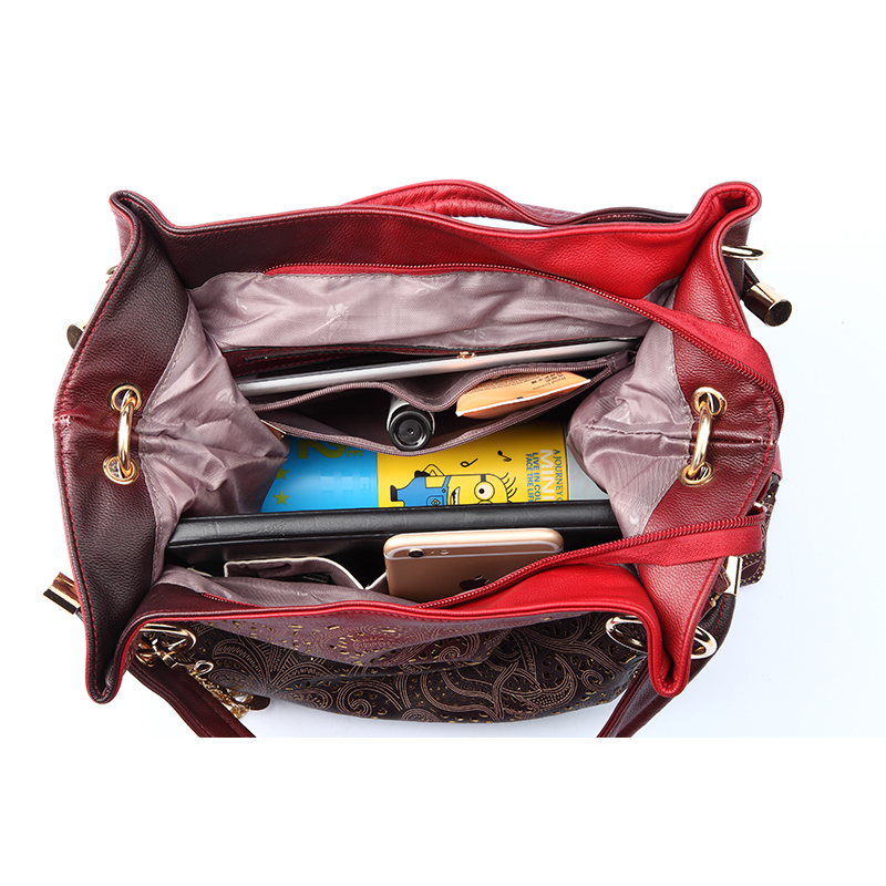 qualidade flores escavar ombro hobos Color : Color Gradient Red Pink Blue Gray Women Shoulder Bag Handbag