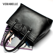 VERABELLE 2017 women high quality top-handle totes top-grain genuine leather handbag vintage shoulder solid female Bag