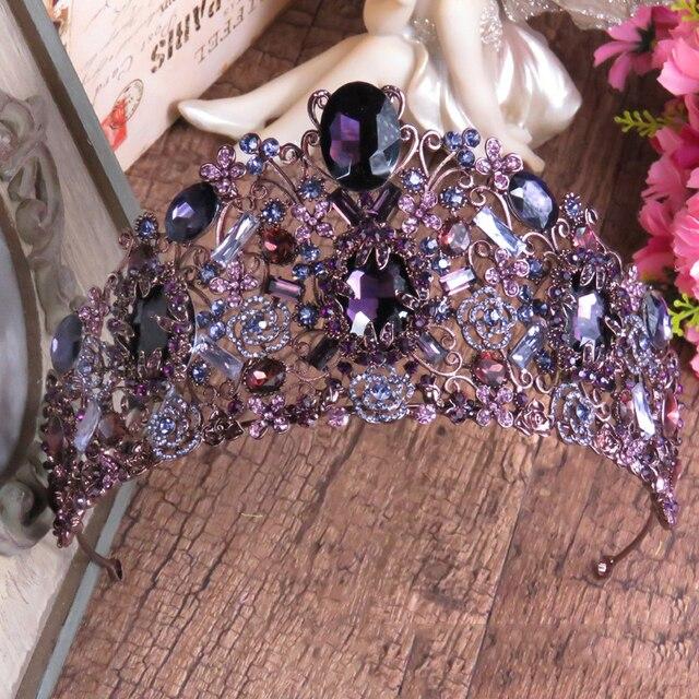 Luxury Violet Crystal Queen Princess Tiaras Crown Noble Purple Rhinestone Diadem For Bride Hair Vine Wedding