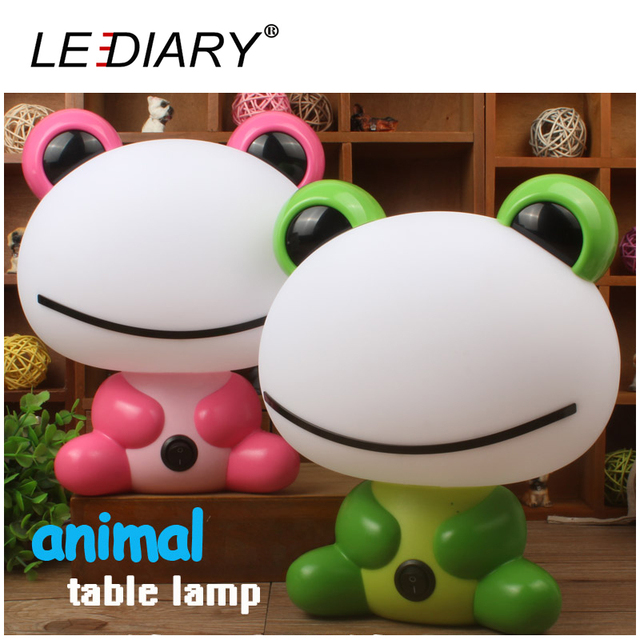 LEDIARY Frog Desk Lamp E14 Replaceable Light Source Pink/Green Night Light Baby Bedside Lamp Warm White/Cold White