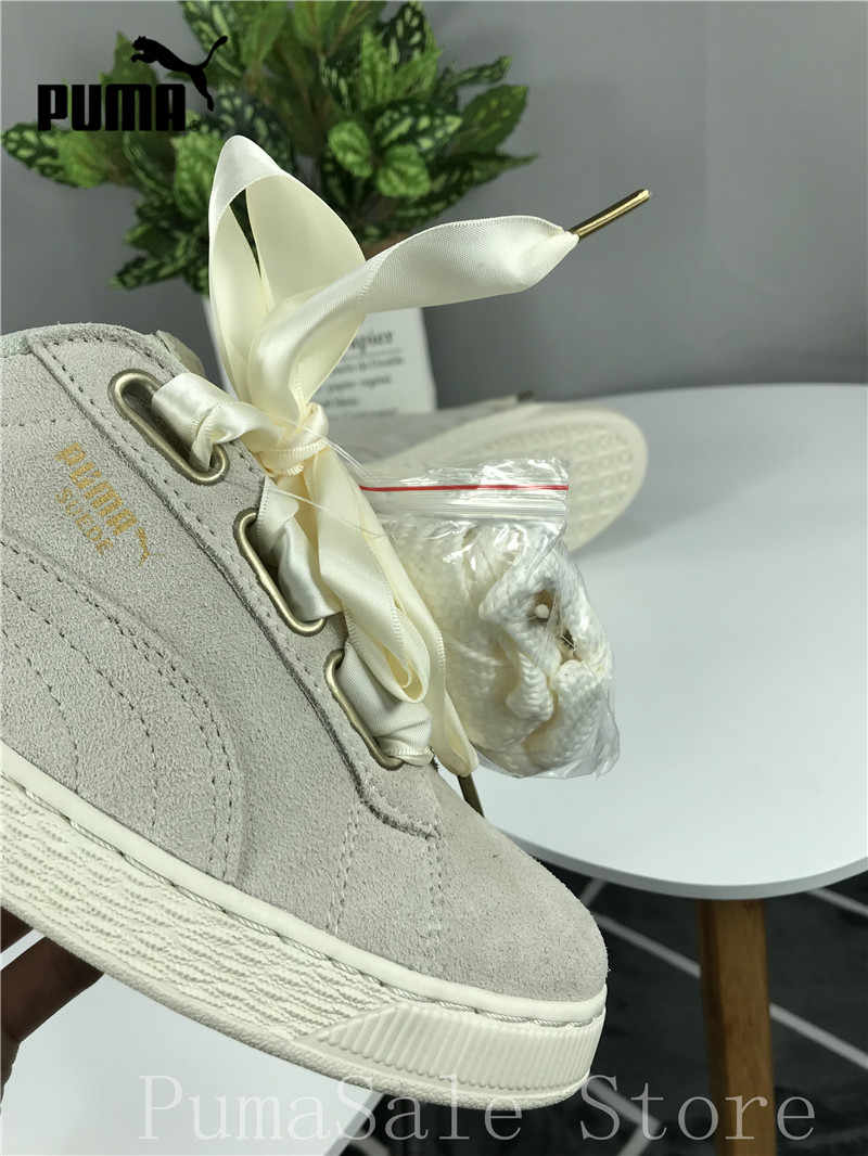 ... Original Puma SUEDE Heart Satin Wn Sneaker 362714 04 Women s Badminton  Shoes Beige Color Silk Bow 19150a6b6