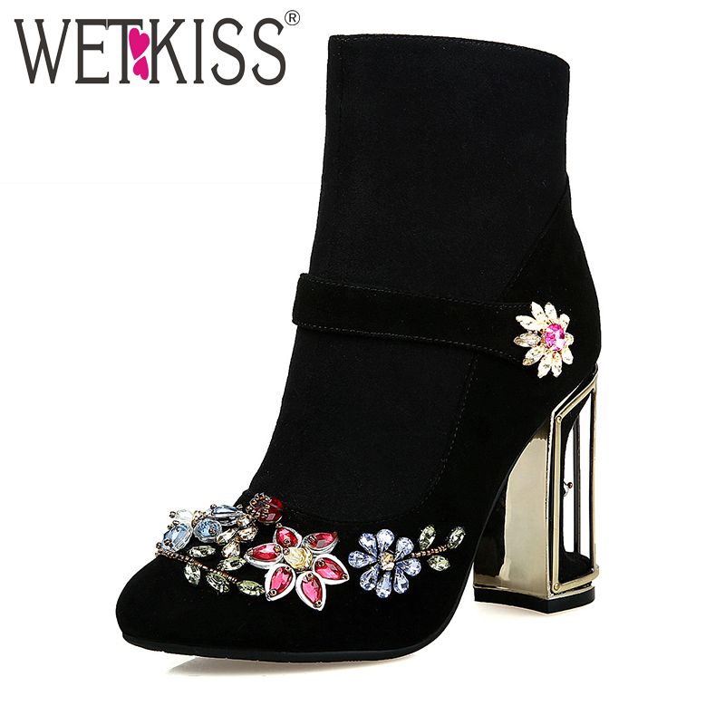 WETKISS New Arrival Brand Design Floral Crystal Autumn Boots Bird Cage High Heel Party Shoes Woman Natural Leather Ankle Boots