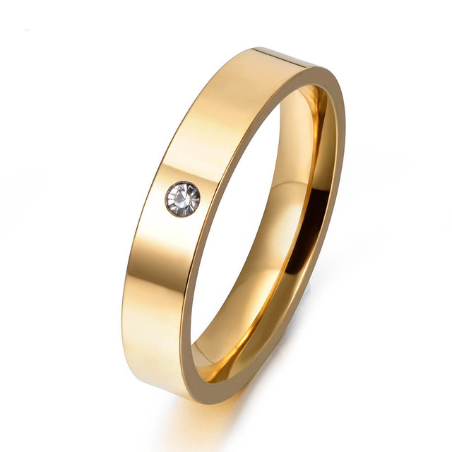 JeeMango Brand Luxury Single CZ Rhinestone Finger Ring Gold Color 316L Stainless