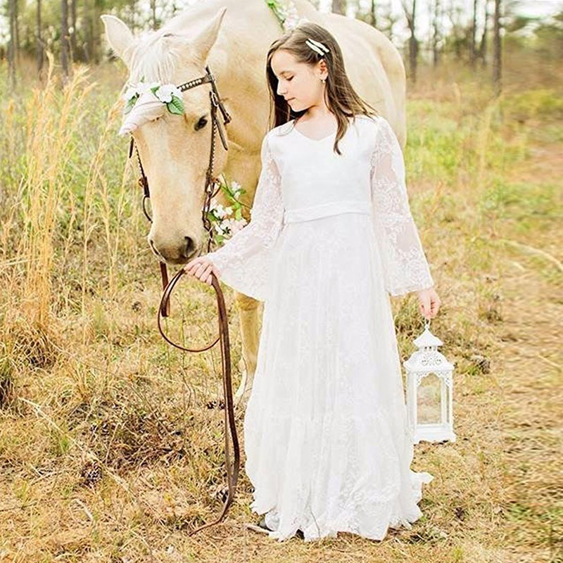 Simple fancy chiffon lace long sleeves flower girl dresses for Flower girl dress for beach wedding