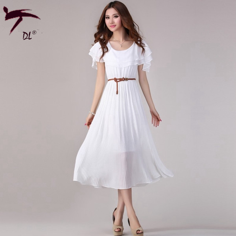 With belt Ruffles decorated shoulder long pleated dress Summer ...