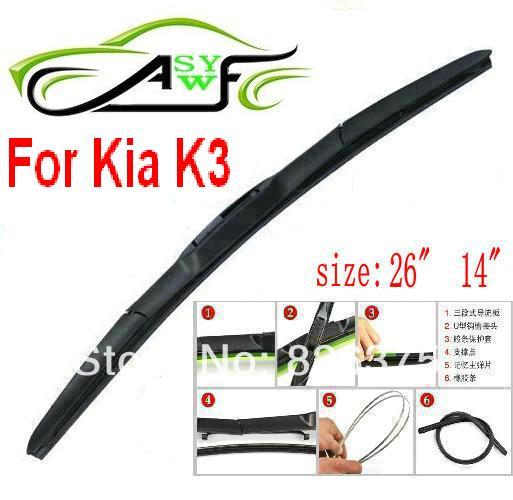 "Free Shipping Car Wiper Blade For Kia K3 Size 26"" 14"" Soft"