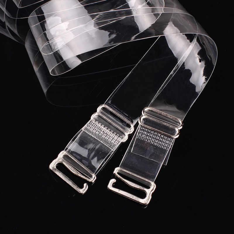 2 pary = 4 sztuk metalowa klamra ramiączka biustonosza pas kobiet elastyczne przezroczyste biustonosz silikonowy paski regulowane Baldric akcesoria 2019