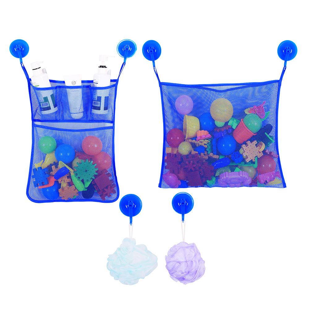 2 Pcs Bathroom Suction Cup Net Bag Bath Baby Shower Kid Toy Holder Organizer Mesh Toiletries Bag Hanging Kitchen Storage Pouch