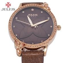 Lady Women s Watch Japan Quartz Clock Hours Fashion Rhinestone Lily Dress Bracelet Leather Girl Birthday