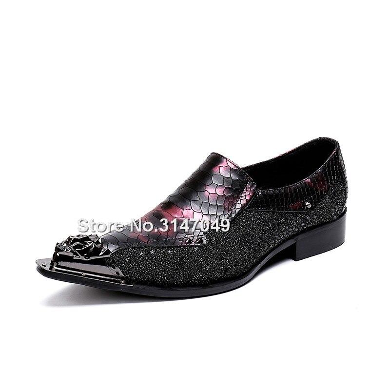 Brillantes Negra Retazos Serpiente Cuero Con Hombre Diamantes De Okhotcn Y Imitación Roja Para Zapatos Punta Formales p6qXvA
