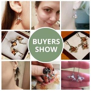 Image 5 - BAMOER Hot Sale Genuine 925 Sterling Silver Lovely Orange Bee Animal Drop Earrings for Women Fine Jewelry Gift Bijoux SCE149
