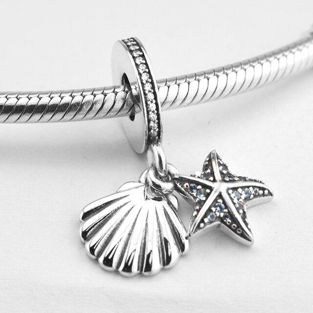 Pikapika 925 Sterling Silver Tropical Starfish Sea Shell Hanging