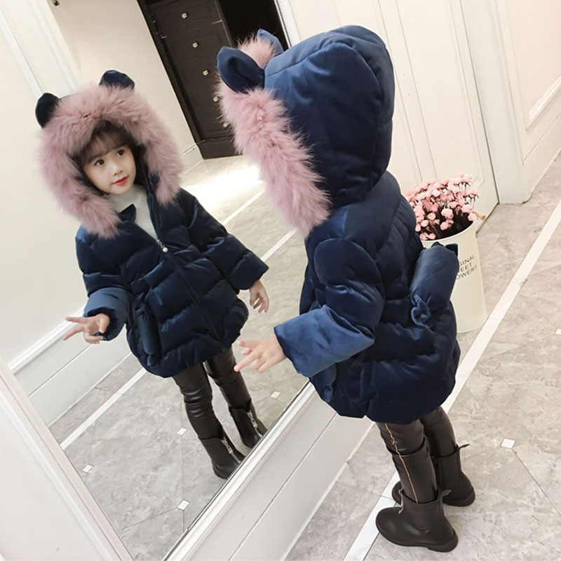 Lovely Cartoon Cotton Jacket for Girls Autumn Winter Warm Clothing Outerwear Sport Children's Coats Toddler Girl Clothes 3-11T short section cotton coats winter bread clothing thickening keep warm jacket 2017new women fashion outerwear abrigos mujerlh097