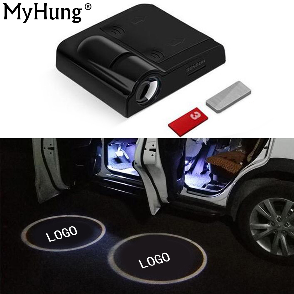 Wireless Car Door Welcome Light Car LOGO Projection LED Lamp No Interface Inductive Switch Light Bulbs For Most Car 1pair Black