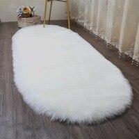 Muzzi Hairy Carpets Sheepskin Plain Fur Skin Fluffy Bedroom Faux Mats Washable Artificial Textile Area Ellipse Rugs
