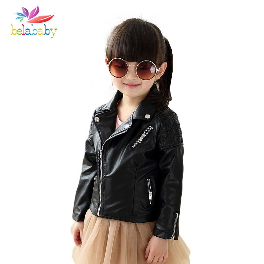 Belababy Spring Autumn Kids Jacket PU Leather Girls Jackets Clothes Children Outwear For Baby Girls Boys Clothing Coats Costume 2 14t baby boy clothes boys jacket leather spring letter boys outwear for children kids coats for boys baseball sweatershirt