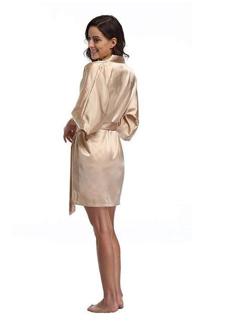 Women's Satin Pajamas Bathrobe Nightgown Wedding Kimono Bride Robe Sleepwear Bridesmaid Robes  5