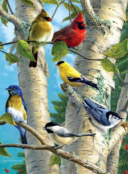 Nové diamantové mozaiky plné diamantové vyšívací korálky Ptáky strom stromů stromů Zvířecí diamanty křížový steh malování intarzie