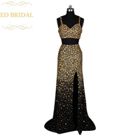Real Sample High Slit Two Piece Prom Dress Heavy Beaded Gold Crystals Sparkly Long Fitted Formal Evening Gown abendkleider