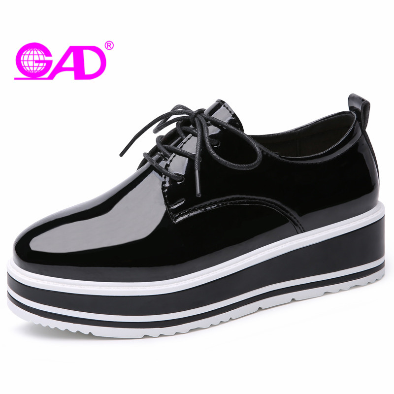 GAD Flat Platform Women Shoes 2018 Spring/Autumn Luxury Patent Leather Women Casual Shoes Mixed Colors Thick Bottom Shoes Women ...