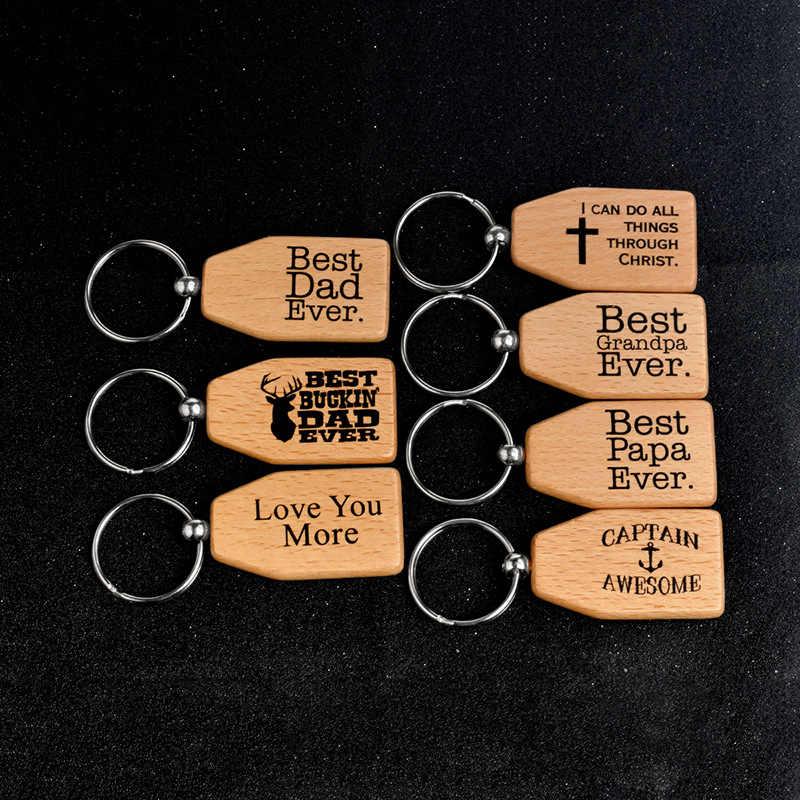 ไม้ Keychains Keyrings แม่พ่อของขวัญพวงกุญแจสำหรับของขวัญของขวัญวันเกิดของขวัญวันแม่ของขวัญจี้