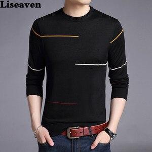 Image 1 - Liseaven zimowy sweter męski marka sweter na co dzień męski O Neck Slim Fit Knitting męskie swetry męskie topy