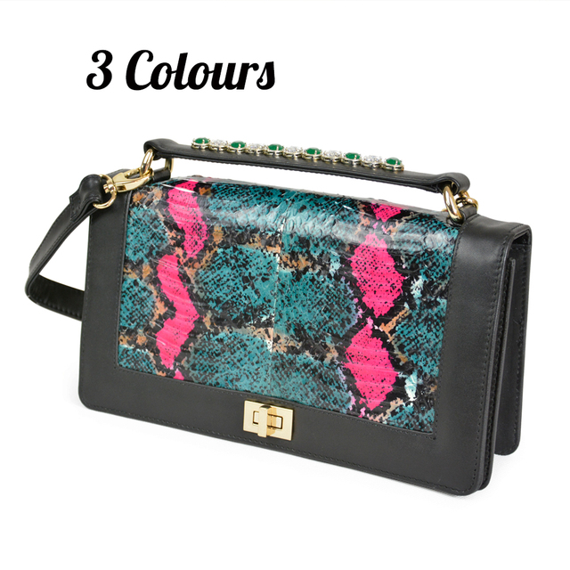 New Women's handbag Snake Skin Genuine Leather Rhinestones Envelope CHIC Serpentine Crossbody Bag Clutches Purse Evening Bags