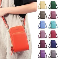 Fashion Women Solid Color Faux Leather Card Phone Holder Crossbody Shoulder Bag